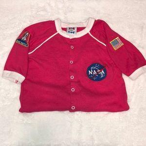 Kid U Not NASA Pink Astronaut Footie American Flag